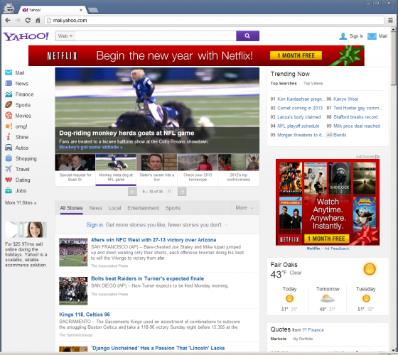 Newly Tested Yahoo Homepage